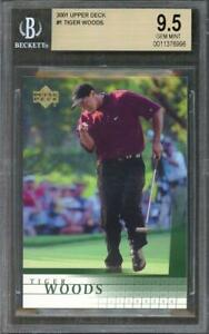 Details About 2001 Upper Deck 1 Tiger Woods Golf Rookie Card Bgs 95