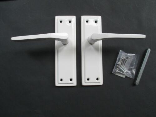 WHITE METAL SPRUNG LEVER MORTICE LATCH LOCK BATHROOM DOOR HANDLES