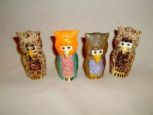 Owls, Hand Whittled and Painted.