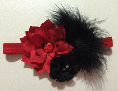 Black Flower and Ladybug Baby//Toddler //Girl Headband Vintage Red