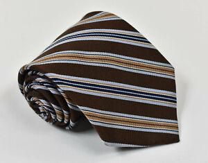 BROOKS-BROTHERS-MAKERS-Brown-Tan-amp-Blue-Striped-Italian-Silk-Tie-Necktie
