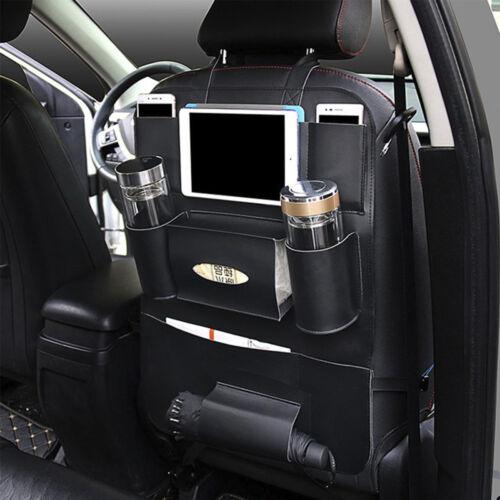 Car Seat Back Multi-Pocket Leather Storage Bag Organizer Holder Black