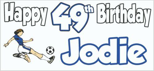 2 Personalised Blue Football 49th Birthday Banner Decorations Women Mum Nan
