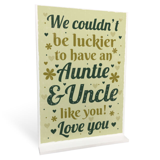 Auntie And Uncle Gifts Christmas Birthday Standing Plaque Gift From Niece Nephew