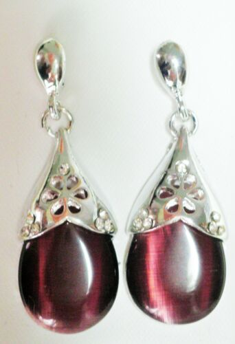 Purple opaque glass drop earrings and silver tone Approx.4cm butterfly backs