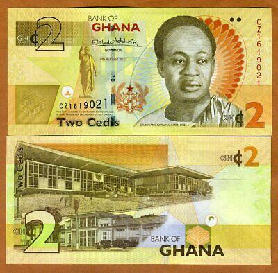 Ghana P-37A 2 Cedis Year 2017 Kwane Nkrumah Uncirculated Banknote Africa