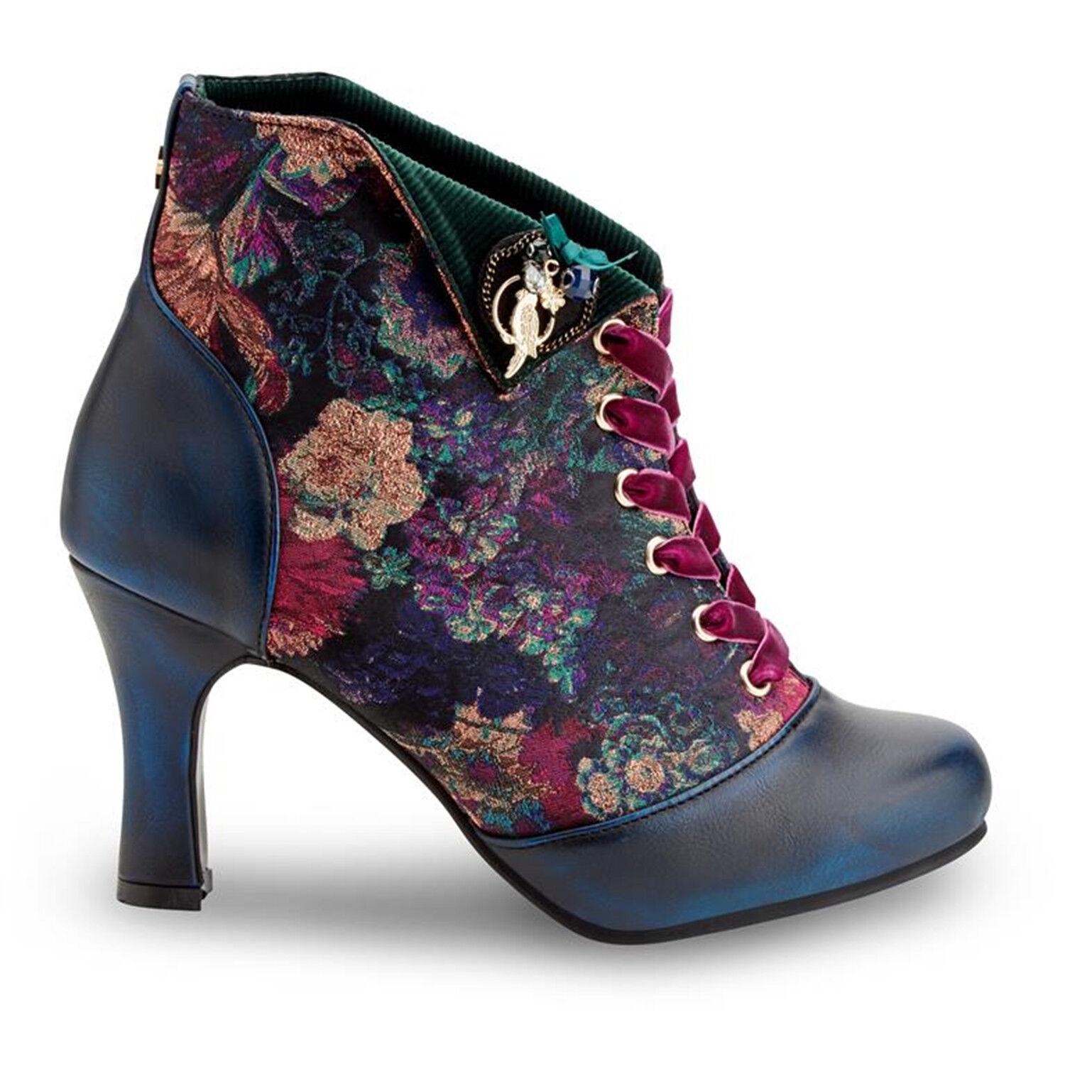 Joe brauns Raven Navy Blau Blau Blau Floral Steampunk Vintage Victorian Ankle Stiefel LARP  große Auswahl und schnelle Lieferung