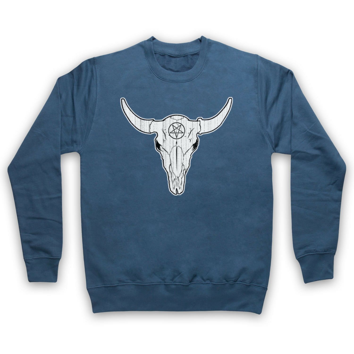 BUFFALO SKULL GOTHIC ILLUSTRATION HORROR PENTAGRAM ADULTS KIDS SWEATSHIRT