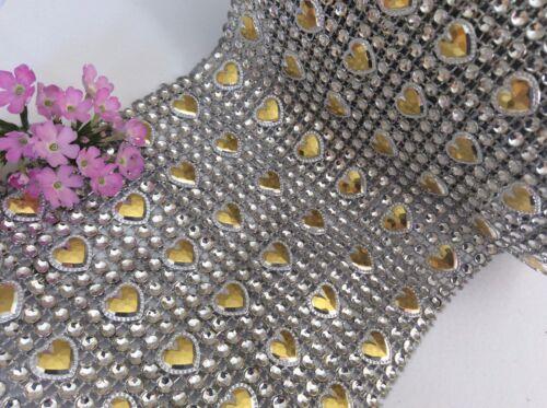 Malla Diamante Cristal de Imitación Corazón Cinta Bodas Tortas Artesanía 11.8 Cm de Ancho