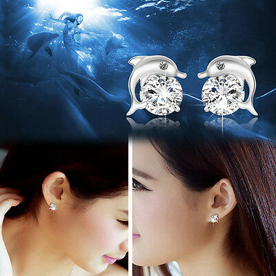 Fashion Plated silver Zircon Crystal Dolphin Ear Studs Earrings Gifts New