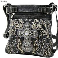 Western Rhinestones Triple cross Tooled Style Messenger Handbag