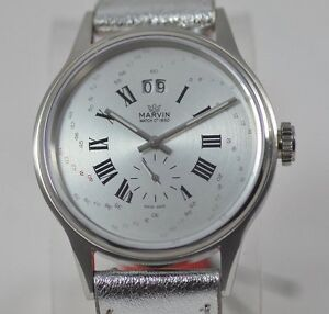 New-Mens-Marvin-M016-13-38-93-Spiraling-Silver-Numerics-Date-Swiss-Made-Watch