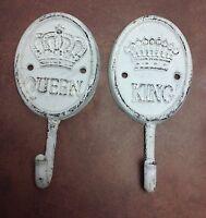 Shabby Chic White King & Queen Hooks