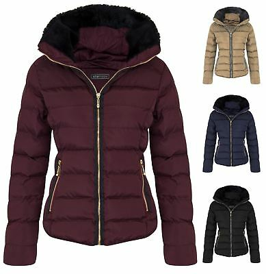Gerade New Womens Quilted Winter Zip Outerwear Padded Collar Jacket Faux Fur