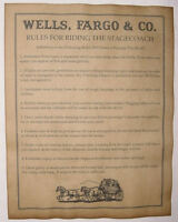 Wells, Fargo, & Co. Stagecoach Rules, Old West, Western, Wanted, Stage & Mail