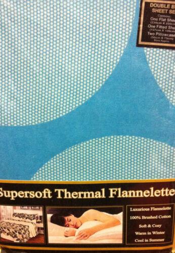 Lit Double Flanelle Sheet Set Spots À Pois Bleu Sarcelle Turquoise coton brossé
