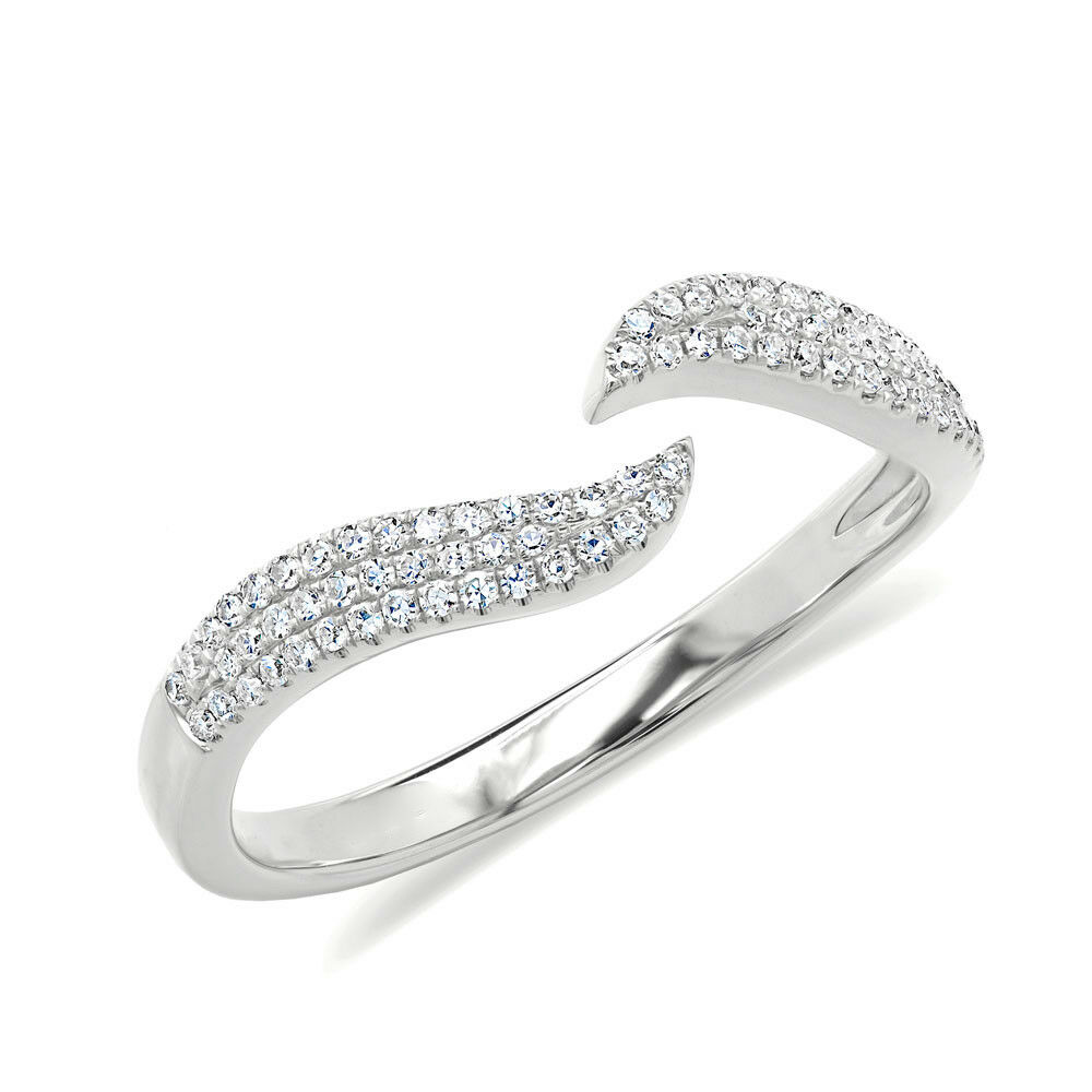 0.17 CT 14K White gold Real Diamond Pave Open Claw Wave Minimalist Space Ring