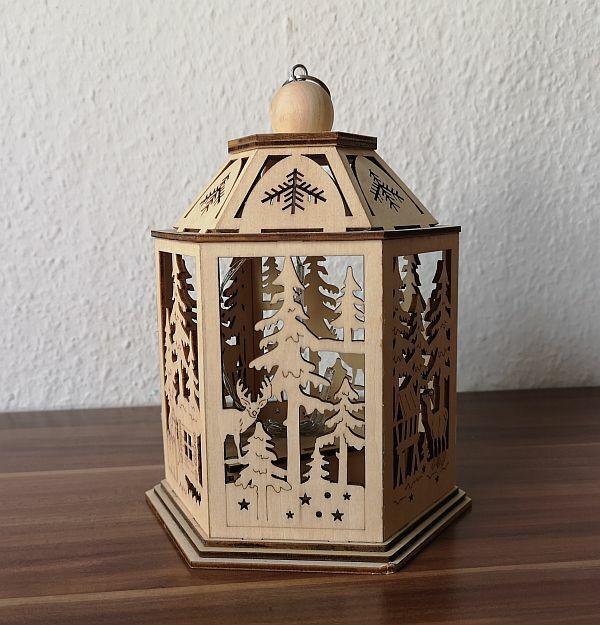 Lichterbogen Schwibbogen Laterne Winterszene Tannenbaum Winterwald Holz LED