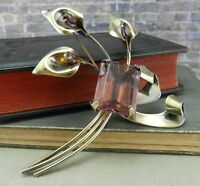 Vintage 1940's Sceptron- Sterling Silver & Purple Calla Lily Flower Pin/ Brooch