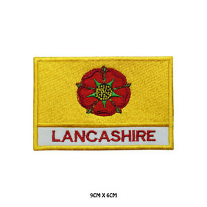 LANCASHIRE-County-Flag-With-Name-Embroidered-Patch-Iron-on-Sew-On-Badge