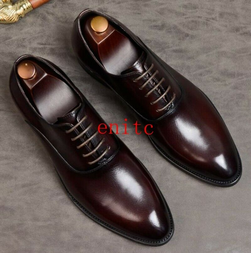 Mens new shoes Formal shoes Real Leather Brogues Wedding shoes Low Top Pointy shoes