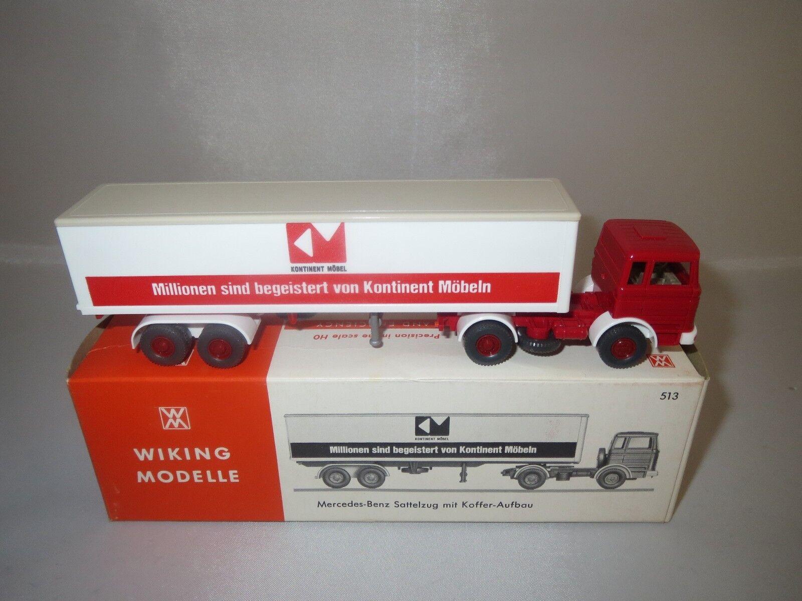 Wiking 513 MERCEDES-BENZ SEMI-REMORQUE avec valise-construction 1 87 Neuf dans sa boîte