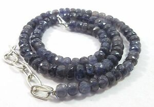 120.40 Ct 5-6mm Natural Iolite Gemstone Rondelle Faceted Beads NECKLACE S116