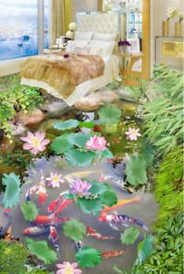 Arbusto de pescado Lotus 5 3D Piso impresión de parojo de papel pintado mural 5D AJ Wallpaper Reino Unido Limón