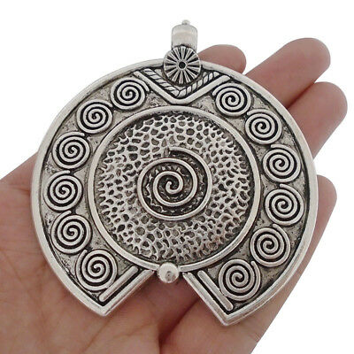 2 Large Tibetan Silver Open Swirl Spiral Vortex Charms Pendants Jewelry Findings
