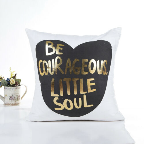 """18/"""" Letter Gold Foil Printing Pillow Case Throw Cushion Cover Sofa Home Decor"""
