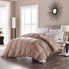 Cal KING Luxury 100%GOOSE DOWN Comforter 100% Egyptian Cotton Khaki Solid,800FP