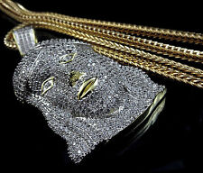 Mens Yellow Gold Finish White Simulated Diamonds Jesus Face Charm And Chain Set