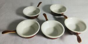 Set-of-5-x-VINTAGE-APILCO-PILLIVUYT-Brown-Ceramic-Sauce-Butter-Pot-Brown