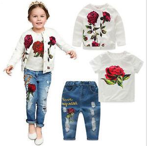 3Pcs Kids Baby Girls Rose Flower Jacket Coat + T-Shirt + Jeans Pants Set Outfits