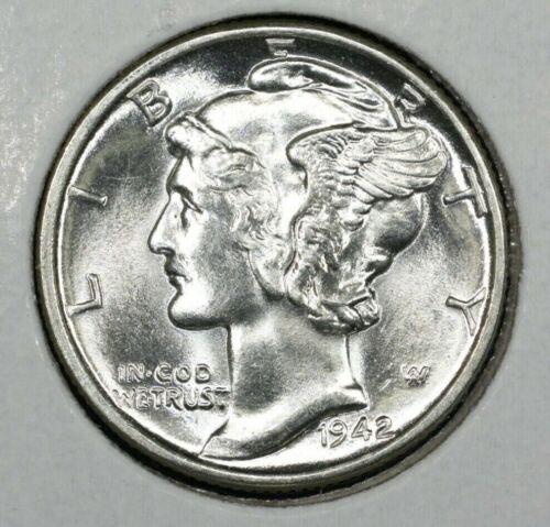 1942 P Mercury Dime Brilliant Uncirculated 90/% Silver Coin Gem BU FB Full Bands