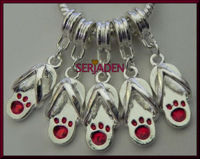 5 Red Paw Flip Flops Shiny Dangle Charms European Style 9 x 30 & 5 mm Hole S199