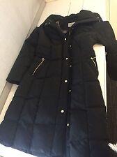 Cole Haan Signature Down Long Jacket Winter Coat Puffy Black Small Designer Calf
