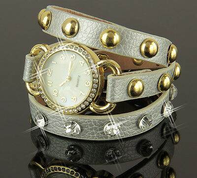B-Ware Damen Uhr  Armband Silber Gold  Strass Leder Armbanduhr Wickeluhr  U1242