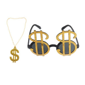 63898a04a048 Image is loading Shiny-Gold-Dollar-Sign-Costume-Eye-Glasses-Necklace-