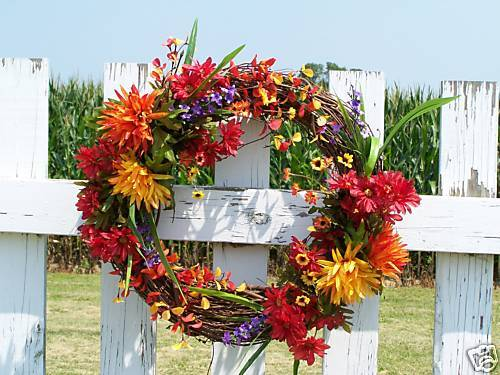 Farbeful Silk Fall Wreath Gift New Home Grave Funeral Cemetery - Wall or Door