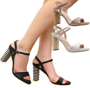 Ladies-Womens-Mid-High-Block-Heel-Strap-Summer-Peep-Toe-Party-Sandals-Shoes-Size