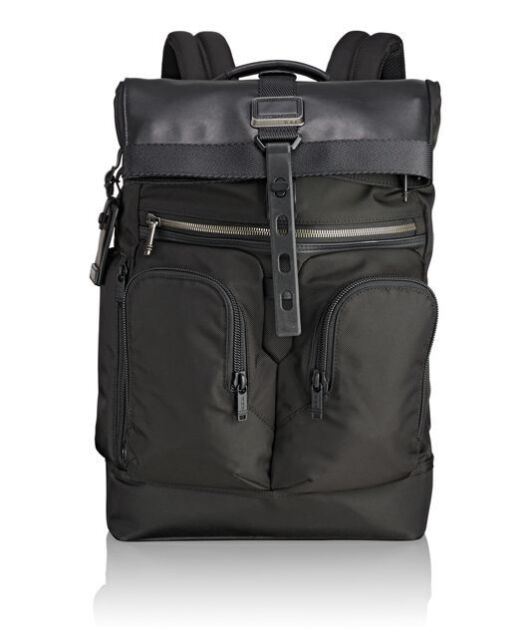 Nwt Tumi Men S Alpha Bravo London Roll Top Backpack Black