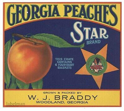 Woodland Georgia Star Georgia Peaches Peach Fruit Crate Label Vintage Art Print