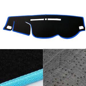 Non-Slip-Velvet-Dash-Mat-Cover-Black-Sky-Blue-Edge-for-15-19-Mitsubishi-Triton