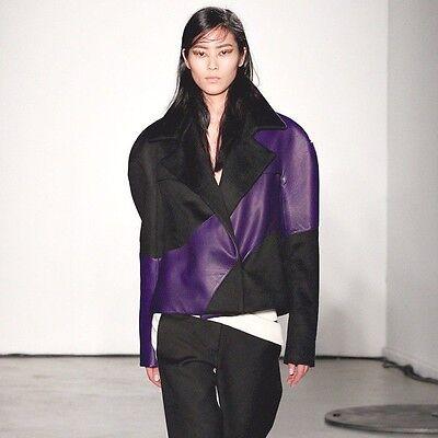 PEDRO LOURENCO $5,459 purple leather AW12 runway jacket Lourenço coat 36/4 NEW