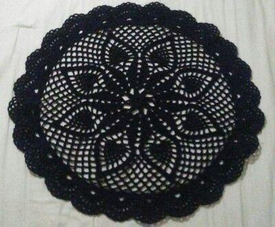 Handmade Crochet Round Black Yarn Mat