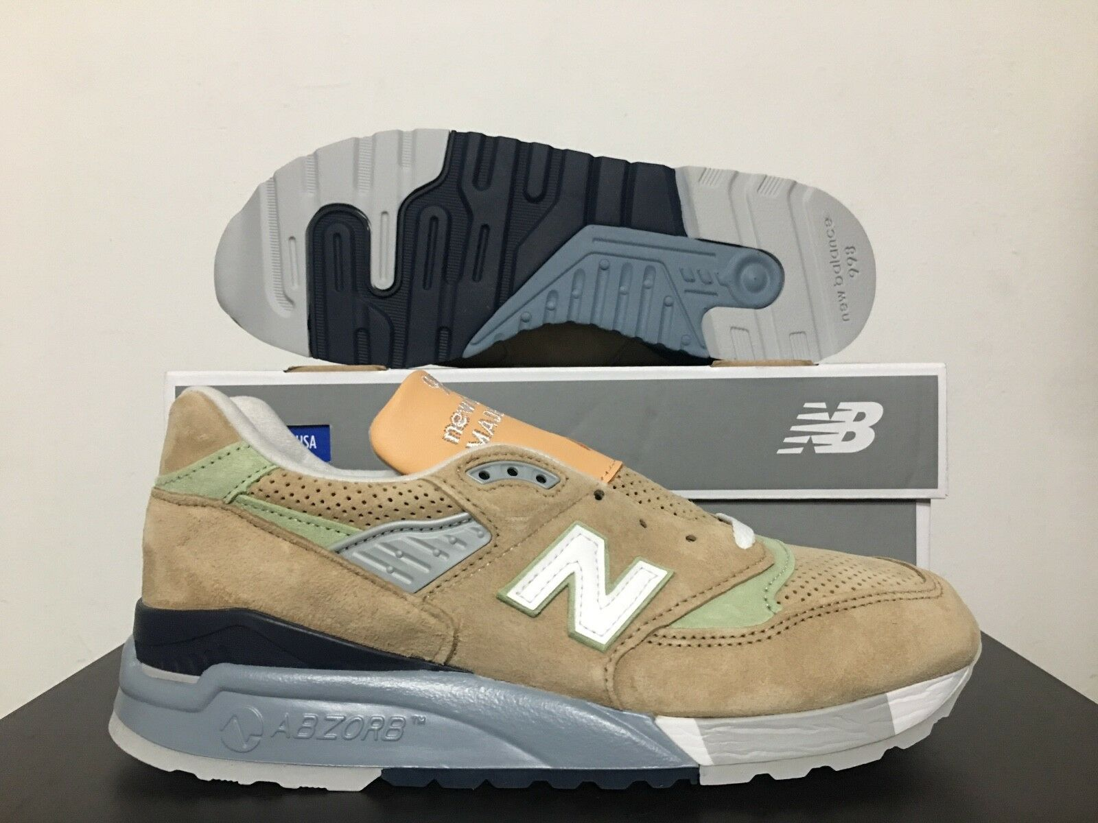New Balance 998 Classics Running shoes Made in USA Tan Pig Suede M998XAA