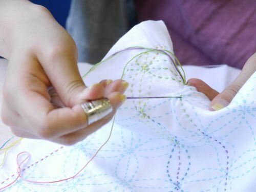 Japanese Embroidery  SASHIKO Kit NASKA HANA FUKIN Chidori From JAPAN