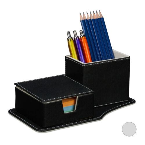 Schreibtisch Organizer Stifteköcher Kunstleder Stiftehalter Zettelbox Stiftebox