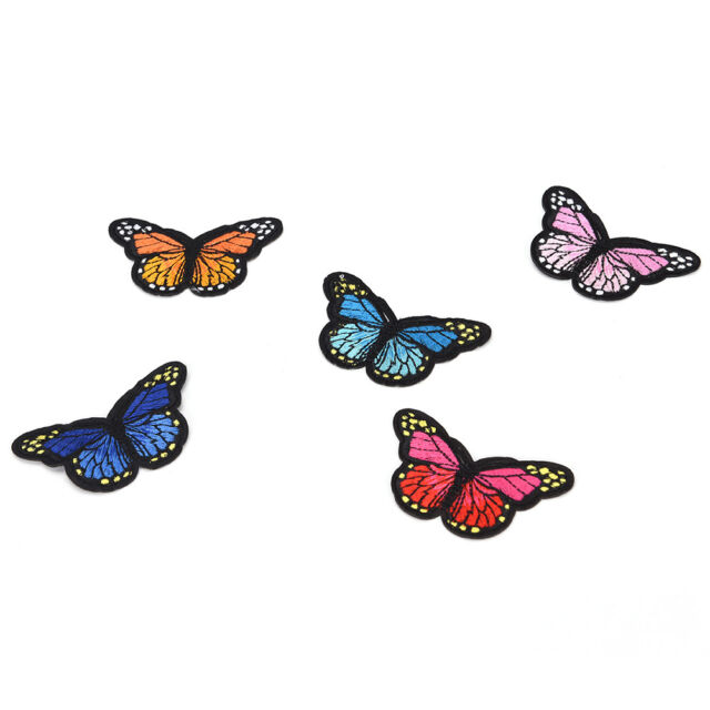 5x butterfly patch patches sew iron on embroidered badge fabric clothing  Ju